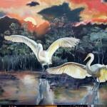 Медведева Катя.Весенний танец птиц, хост,масло,50 70